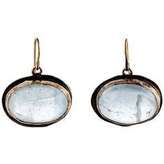 Judy Geib Women's Aquamarine Cabochon Drop Earrings