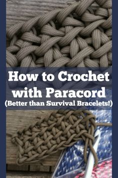 Learn how to make crochet paracord projects, and why you should crochet over knitting when using paracord for emergency and outdoors! Paracord Tutorial, 550 Paracord, Crochet Hook Set, Crochet Quilt, Paracord Projects, Crochet Bracelet, Crochet Projects, Crochet Tutorials, Yarn Projects