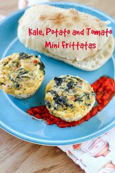 Kale Potato and Tomato Mini Frittatas | Get the #recipe --> http://www.cookingwithsiri.com/2015/05/healthy-breakfast-recipes-kale-potato.html