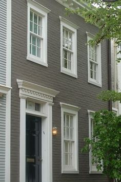 New england colonial blue exterior inspiration for front door portico on our teeny version of a - Exterior white trim paint pict ...