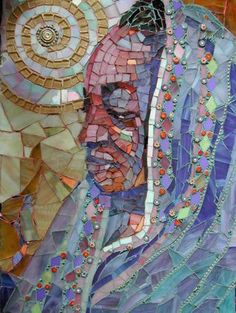Mosaic Wall Art 19x14 african mosaic tile, african american black woman portrait