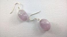 Large Kunzite Nugget earrings, Kunzite and sterling silver earrings, Kunzite earrings, pink gemstone earrings, pink earrings, kunzite.