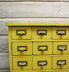 Vintage Yellow Library Card Catalog MidCentury by AuroraMills
