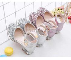 Silver / Pink Glitter Rhinestone High Heel Baby Kids Princess Party Shoes Wedding Flower Girl Shoes #Pink #Silver