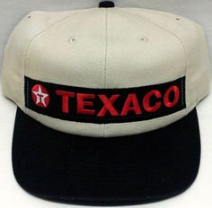 Vintage Texaco Baseball Cap Hat Advertising Cream With Adjustable Slider
