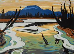 Jackson - Smart River (Alaska) serigraphy (silkscreen or screen print) Tom Thomson, Emily Carr, Group Of Seven Artists, Group Of Seven Paintings, Canadian Painters, Canadian Artists, Jackson, Landscape Art, Landscape Paintings