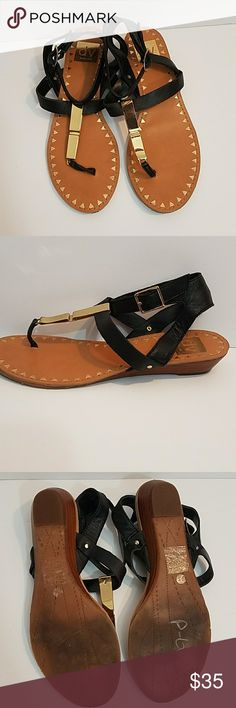 DV DOLCE VITA Leather Gladiator Ankle Strap Sandal DOLCE VITA Leather Gladiator Ankle Strap Sandals with Gold T Strap and kitten wedge heel  Size 7 DV by Dolce Vita Shoes Sandals