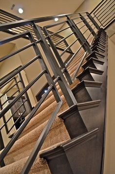 Iron Stair Rail Design, Pictures, Remodel, Decor and Ideas - page 4 Indoor Stair Railing, Metal Deck Railing, Steel Stair Railing, Steel Railing Design, Staircase Railing Design, Modern Stair Railing, Staircase Handrail, Steel Stairs, Banisters