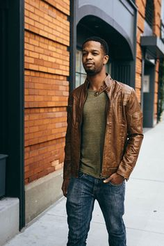 36 hours only   40% off the Ton Up Jacket in Tan Leather Jacket Outfits, Denim Jacket Men, Fashion Night, Autumn Fashion, Men's Fashion, Fashion Ideas, Fashion Hacks, Modern Fashion, Fashion Trends