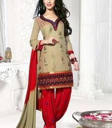 Buy Biege embroidered Cotton unstitched salwar with dupatta dress-material online