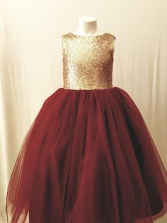 c8b198009 Sequin gold burgandy flower girl dress tulle skirt formal rose sequin dress  sizes 6m to 12 plum maroon cranberry can be customized