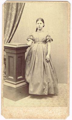 Standing Teen Girl Long Dress in Chatham Massachusetts by J Bryant 1860's CDV | eBay teen in short sleeves