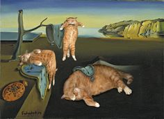 Salvador Dalí, The Persistence of Memory(1931) with three felines. Photo: Fat Cat Art #cats #art #FatCatArt