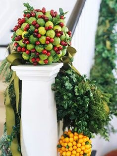styrofoam ball with crabapples and cranberries glued together for a great accessory that can be placed anywhere