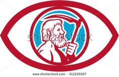 Illustration of Cronus or Kronos, Greek God and leader of Titans, holding a scythe or a sickle viewed from the side set inside an eye on isolated background done in retro style.  #cronus #retro #illustration