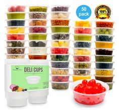 Reusable deli-style cups that are the perfect size for storing homemade baby food.