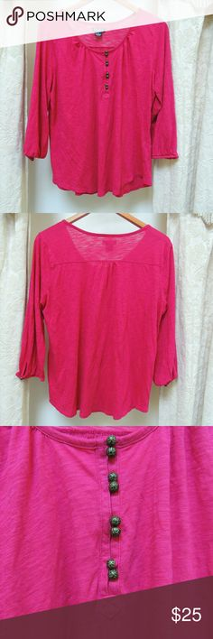 Fuschia pink Lucky Brand blouse Lucky Brand blouse.  Hot pink color with a few buttons part way down the front.  3/4 sleeves.  Nice drape. Lucky Brand Tops Blouses