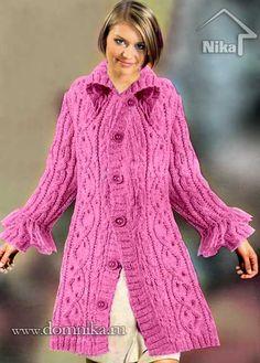 Пальто с узорами. Вязание спицами
