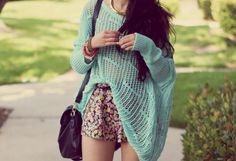 mint sweater, floral shorts - rougefox.com
