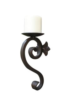 Wrought Iron Candle Holder or Wall Sconce