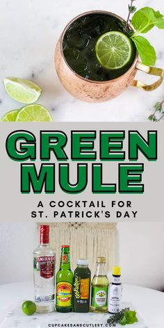 Need a green drink for St. Patrick's Day? Make a Green Mule! This cocktail is a fun green twist on the classic Moscow Mule. With store-bought green juice and vodka, this drink comes together quickly and is perfect for a crowd. Non Alcoholic Drinks, Beverages, Moscow Mule Recipe, Cocktails To Try, Slice Of Lime, Green Beer, Super Greens, Ginger Beer, Natural Sugar