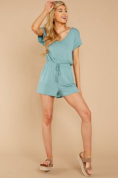 The Dusted Jade Blaire Sleek Jersey Romper Classy Chic, Comfy Casual, Teen Fashion, Fashion Ideas, Tee Dress, Refashion, Playsuit, Short, Sneakers Fashion