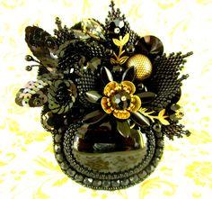 Night Suite Brooch by Kristine Gredzena https://www.etsy.com/listing/266353359/night-suite-black-and-gold-bead?ref=pr_shop
