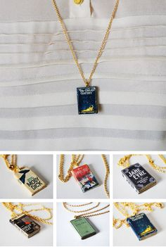 Wear Your Favorite Stories Around Your Neck - mini book necklace Book Jewelry, Cute Jewelry, Jewelry Accessories, Jewelry Making, Pendant Jewelry, Bijoux Harry Potter, Book Necklace, Accesorios Casual, Book Nerd