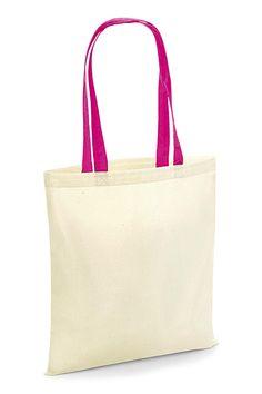 Sacoșă cumpărături cu mânere contrastante Westford Mill din 100% bumbac, dimensiuni: 38 x 42cm. Se poate inscriptiona cu logo, mesaj sau alte motive.  #sacose #cumparaturi #promotionale #personalizate #westfordmill #inscriptionare #broderie #transferserigrafic Reusable Tote Bags, Embroidery