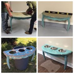 Diy dog bowls for my Great Danes out of an old antique table we found