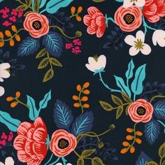 Rifle Paper Co - Les Fleurs Rayon - Birch Floral Rayon in Navy