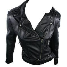 100% Ladies Short Leather Jacket Biker Style Black Retro lapels... ❤ liked on Polyvore featuring outerwear, jackets, biker jacket, retro leather jacket, genuine leather biker jacket, collar jacket and collar leather jacket