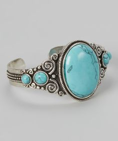 Turquoise & Silver Swirl Cuff | Daily deals for moms, babies and kids