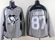Penguins #87 Sidney Crosby Grey Practice Stitched NHL Jersey