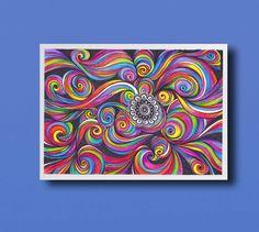 Abstract Psychedelic Art Drawing Rainbow Colors PRINT, Healing Energy  Modern Home decor, Zentangle Mandala Drawing, Nursery Kids Room Art by DHANAdesign on Etsy