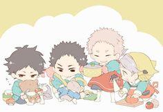 akaashi, aone, iwaizumi, sugawara, kindergarten, http://www.pixiv.net/member_illust.php?mode=medium&illust_id=45372384