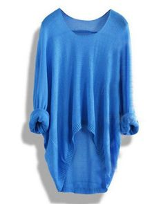 Chic Scoop Neck Long Sleeve Pure Color Loose-Fitting Knitwear