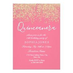 #Pink Gold Glitter Confetti Quinceanera Invitation - #gold #glitter #gifts