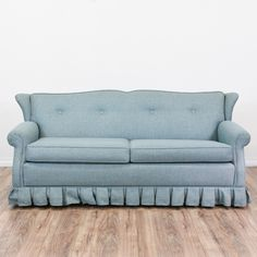 Cool retro-looking sofa with full sized mattress included. Beautiful blue color looks much richer in person. Pull-out function has been tested and works great! Upholstery and structure in excellent condition.    72.5x37.5x33  Deployed: 72.5x102.5x29 #retro #sofas #sofabed #sandiegovintage #vintagefurniture
