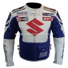 Jackets Lower Price with Suzuki 4269 White Motorbike Motorcycle Cowhide Leather Jacket And Leather Gloves