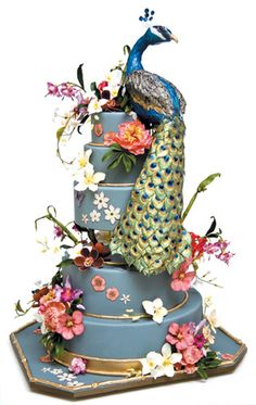 Peacock Wedding Cake by Ron Ben Israel Peacock Cake, Peacock Wedding Cake, Wedding Cakes, Peacock Colors, Peacock Theme, Peacock Feathers, Crazy Cakes, Fancy Cakes, Gorgeous Cakes