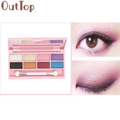 OutTop Eye Shadow powder  8 Colors Pro Eyeshadow Shimmer Mate Palette Cosmetic Brush Mirror Makeup Set maquillaje 2017 May23 #Affiliate