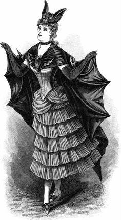 Vintage Ephemera: Engraved French fashion plate, bat costume for fancy-dress ball, 1887