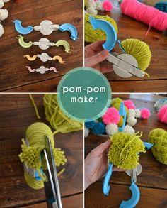 DIY Pom Pom Chandelier Mobile with pdf tutorial - Neon, Striped, and retro mod craft! Via SmallforBig.com #diy #kids #crafts #pompoms #yarn