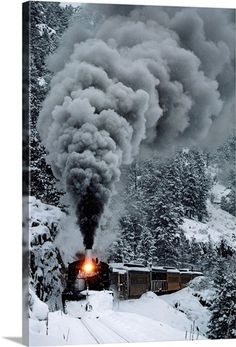 The Durango & Silverton Narrow Gauge Railroad train chugs through the snow, San Juan Mountains, Colorado Wall Art by Paul Chesley from the National Geographic Collection at Great BIG Canvas. Train Art, By Train, Train Tracks, Train Rides, Locomotive Diesel, Steam Locomotive, Silverton Train, Silverton Colorado, Durango Colorado