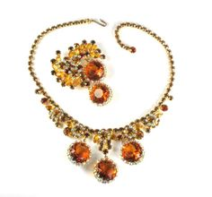 DeLizza and Elster Juliana Topaz AB Rhinestone Necklace and Brooch - Offered by Anna's Vintage Jewelry on Ruby Lane