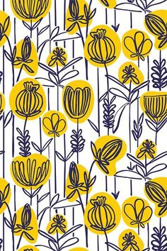 Colorful fabrics digitally printed by Spoonflower - Yellow Floral Yellow and navy floral illustration by indie designer pragya_k. Beautiful hand drawn flowers with a whimsical touch. Available in fabric, wallpaper and gift wrap. Boho Pattern, Pattern Floral, Flower Pattern Design, Yellow Pattern, Motif Floral, Surface Pattern Design, Pattern Art, Flower Patterns, Floral Prints