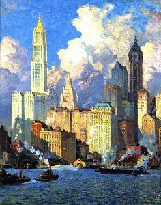 Cooper, Colin, (1856-1937), Hudson River Waterfront, 1921, Oil