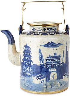 One Kings Lane Large Great Wall Teapot - Blue/White