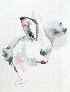 Bunny Rabbit  Semi Abstract Original Watercolor Painting - Affordable Gift - Bunny Watercolor. $32.00, via Etsy.